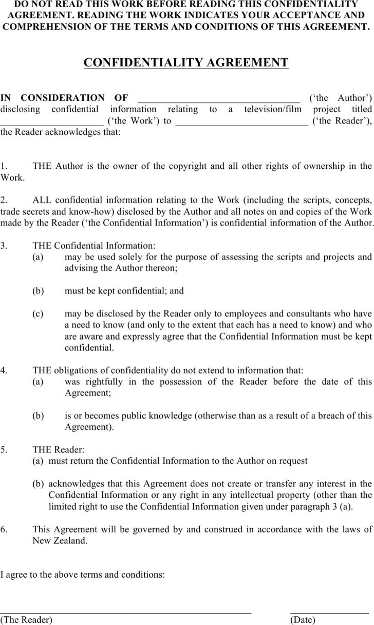Example Basic Confidentiality Agreement