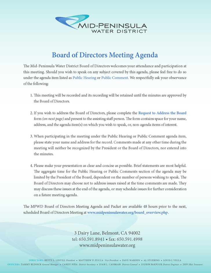 Example Board Of Directors Meeting Agenda Form