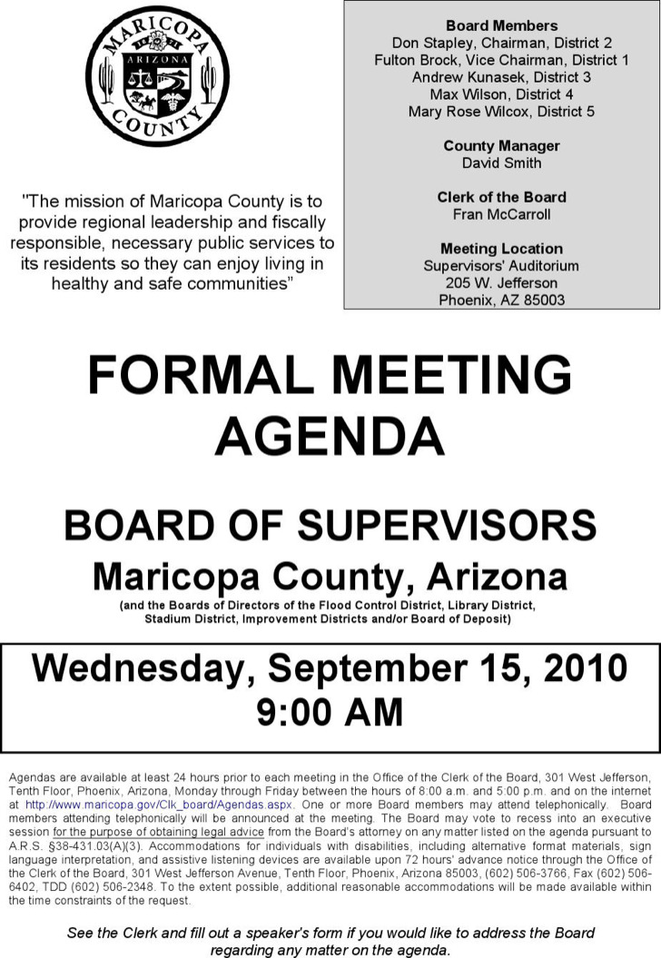 Example Board Of Supervisiors Formal Meeting Agenda