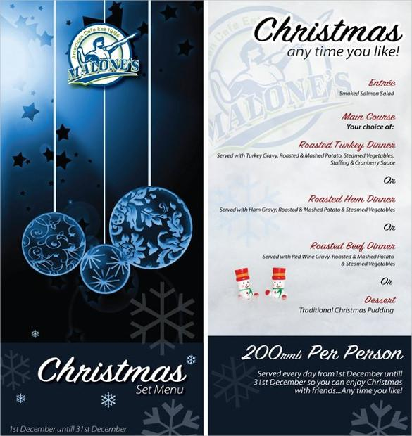 Example Christmas Menu Template 1