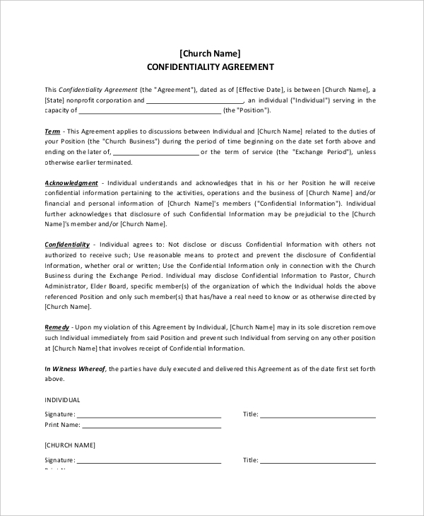 Example Church Confidentiality Agreement for Donor