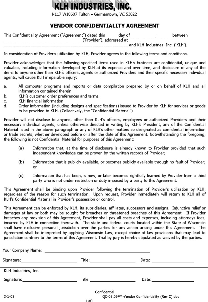 Example Customer List Vendor Confidentiality Agreement