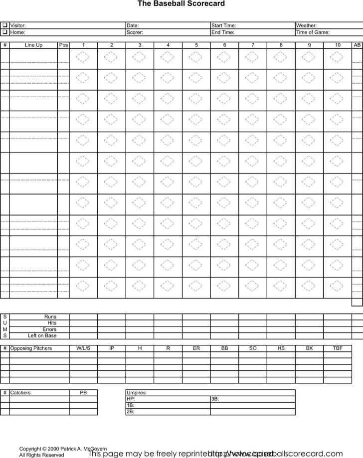 Example Excel Scorecard Baseball Template
