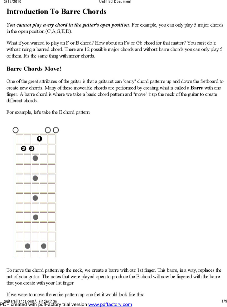 Example Free Complete Guitar Chord Chart