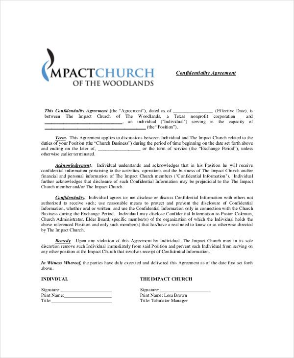 Example Generic Confidentiality Agreement