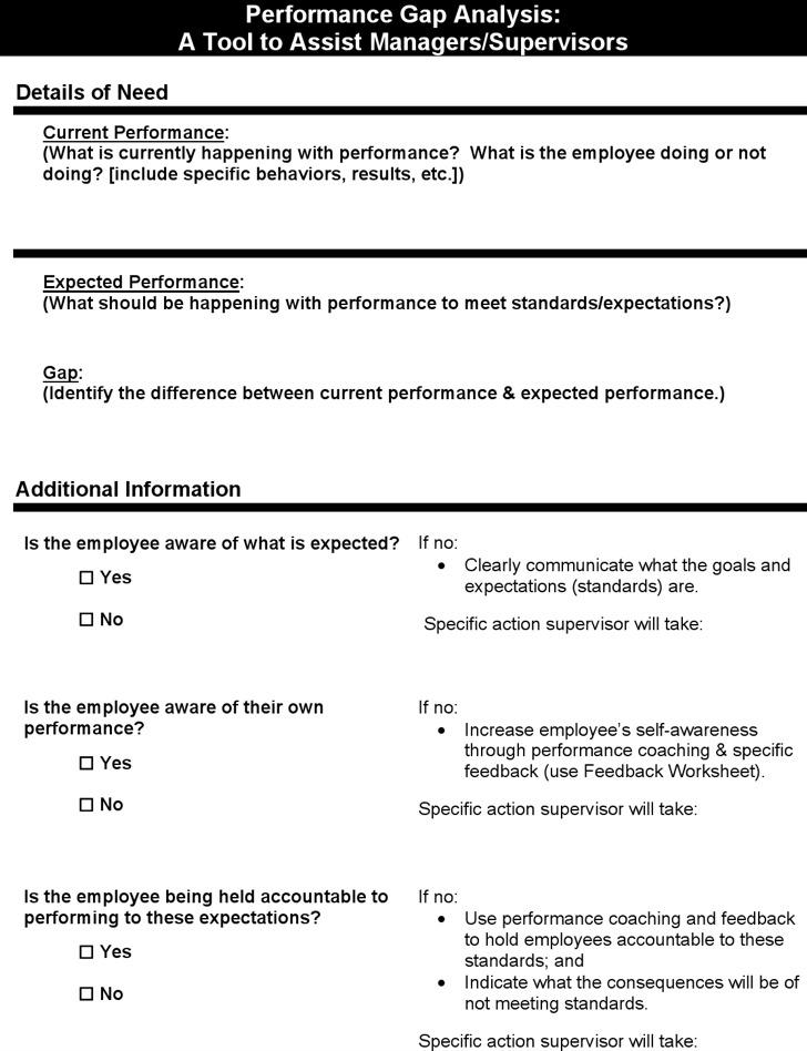 Example Individual Performance Gap Analysis