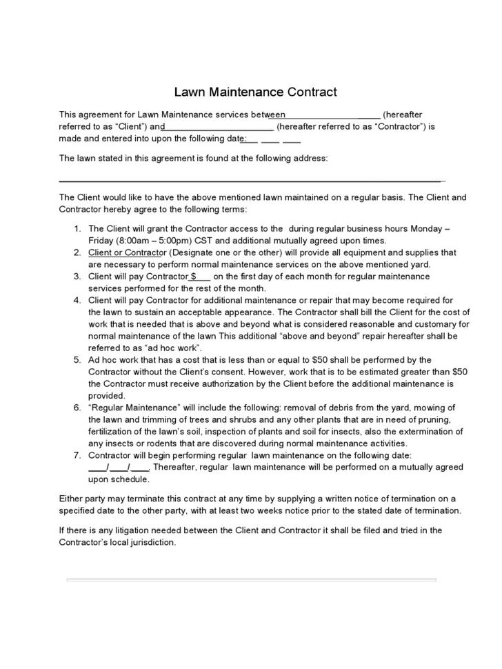 cleaning service contract sample pdf