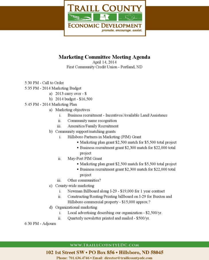 Example Marketing Budget Meeting Agenda