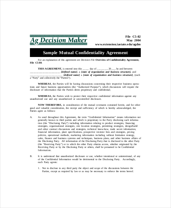 Example Mutual Confidentiality Agreement