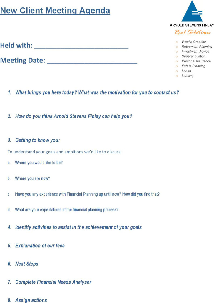Example New Client Meeting Agenda