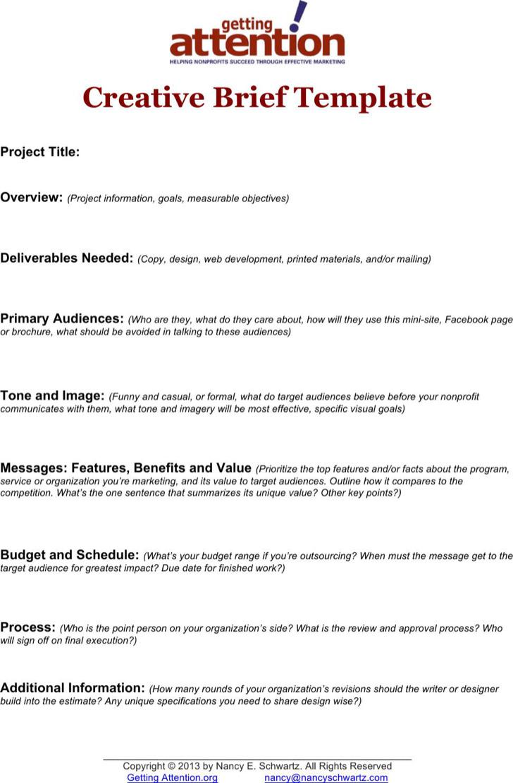 Example Non Profit Marketing Creative Brief Template