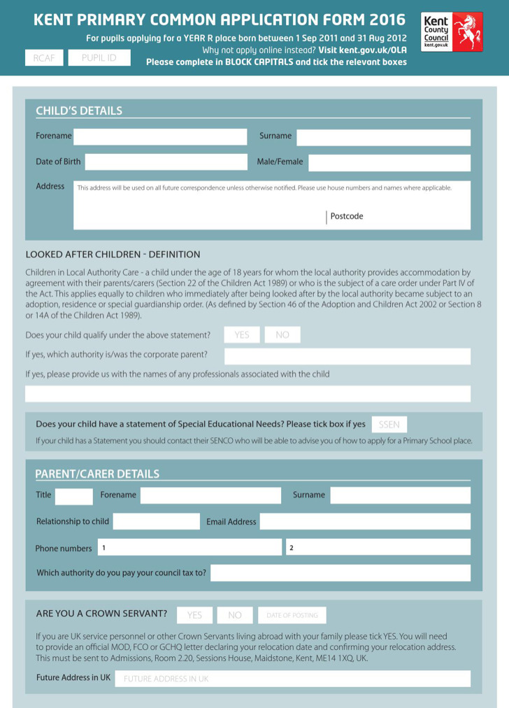 Example Of Kent Primary School Admission Application Form Free Download