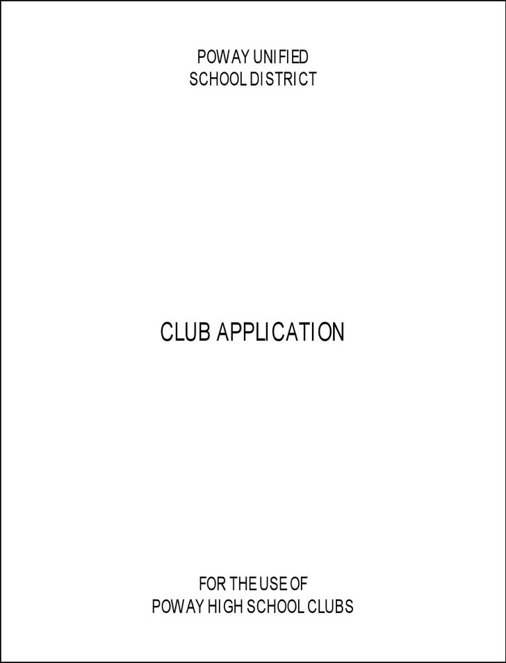 Example Poway High Club Application Free Download
