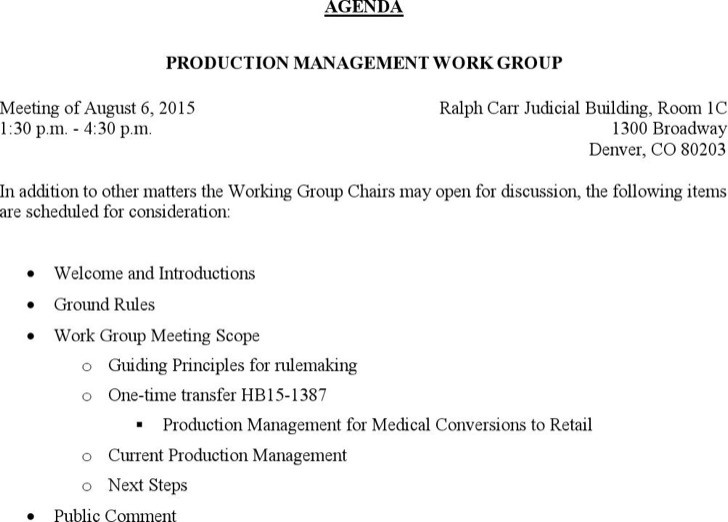 Example Production Management Meeting Agenda