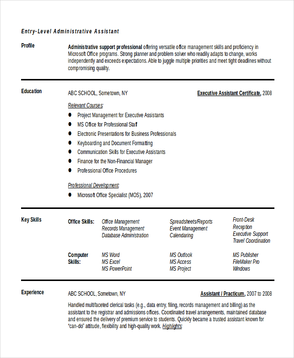 Example Resume for Entry Level Admin Executive