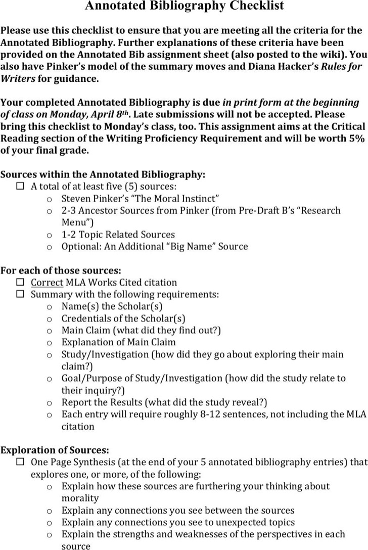 8  simple annotated bibliography templates free download