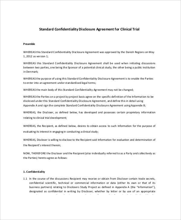 Example Standard Confidentiality Agreement for Commercial
