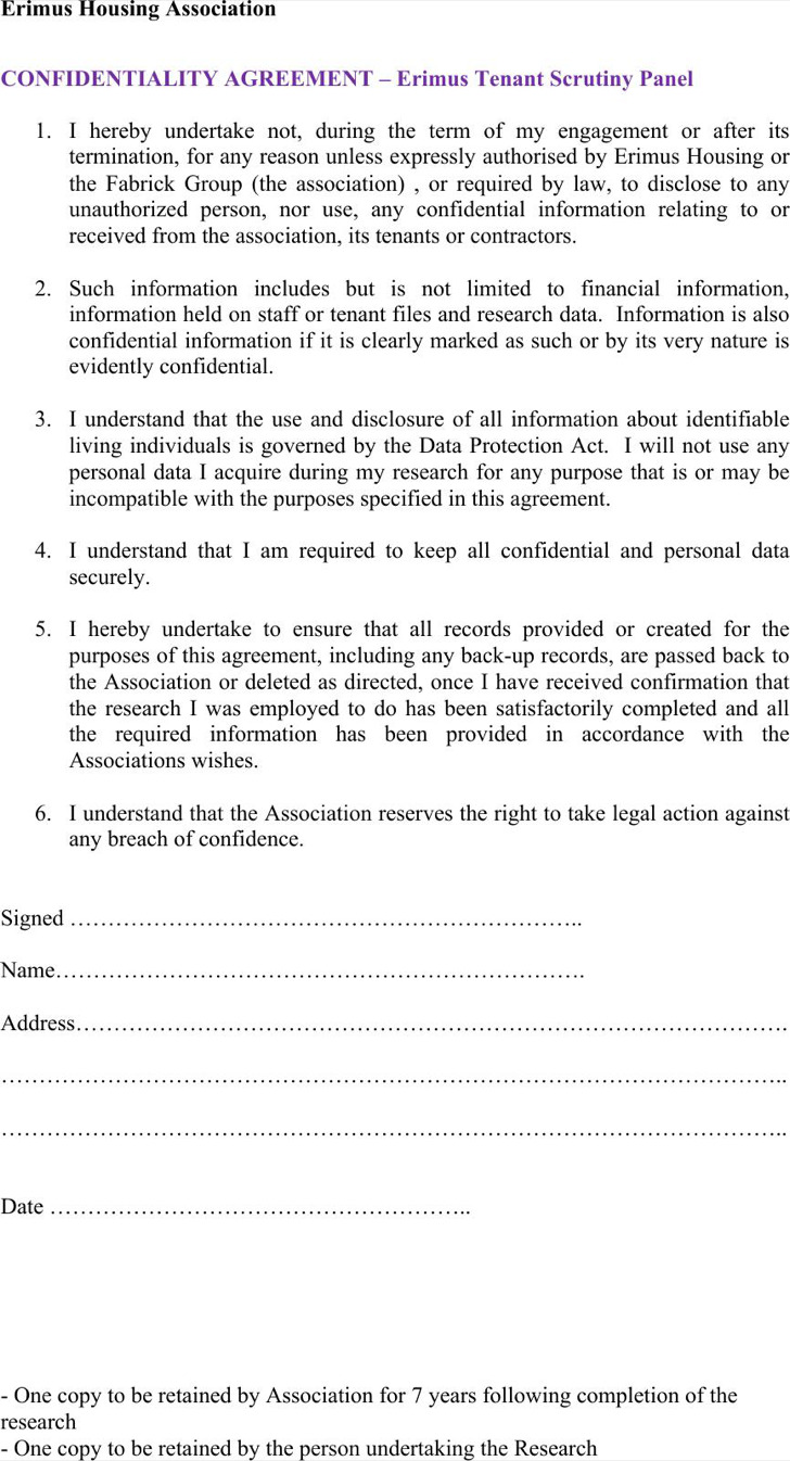 Example Tenant Confidentiality Agreement