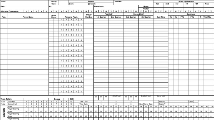 Excel Basketball Scorecard Sample Template
