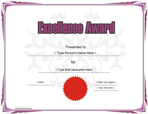 Excellence Award Certificate Template Download