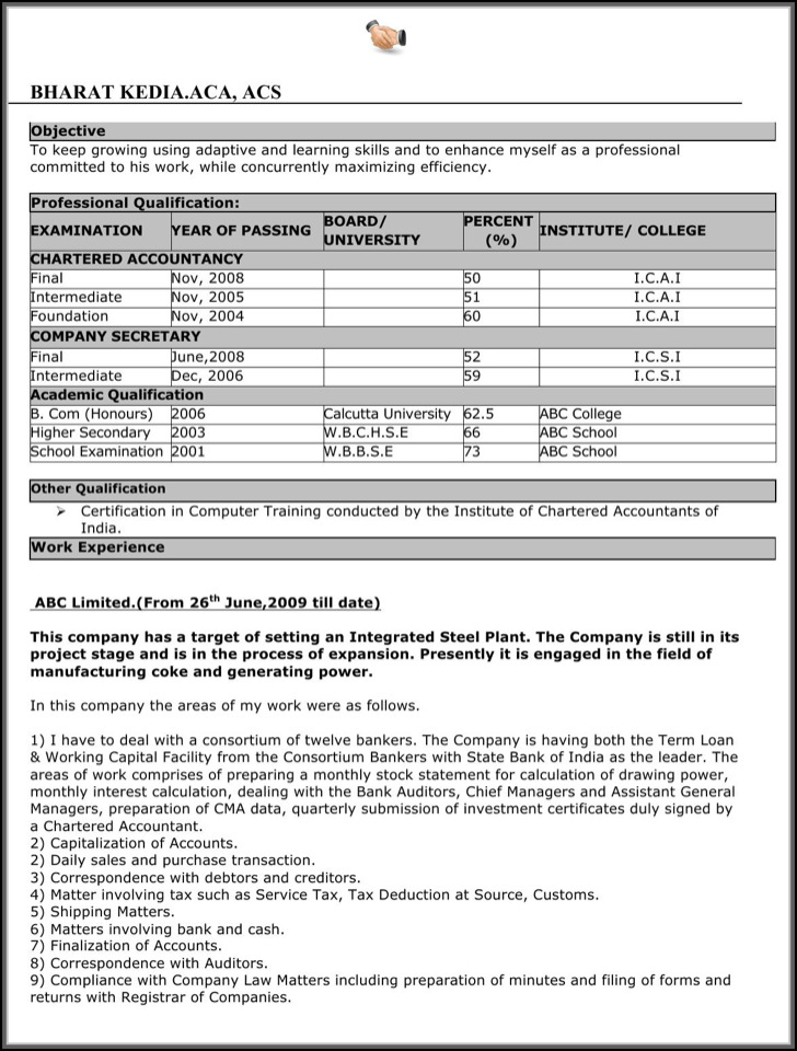 Excellent Resume Format Free