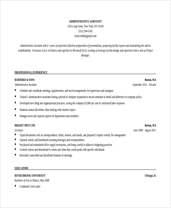 Executive Administrative Assistant Resume by Profession