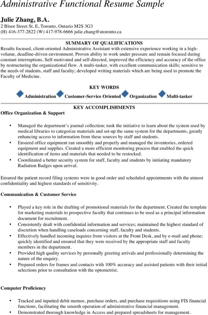 Executive Administrative Functional Resume