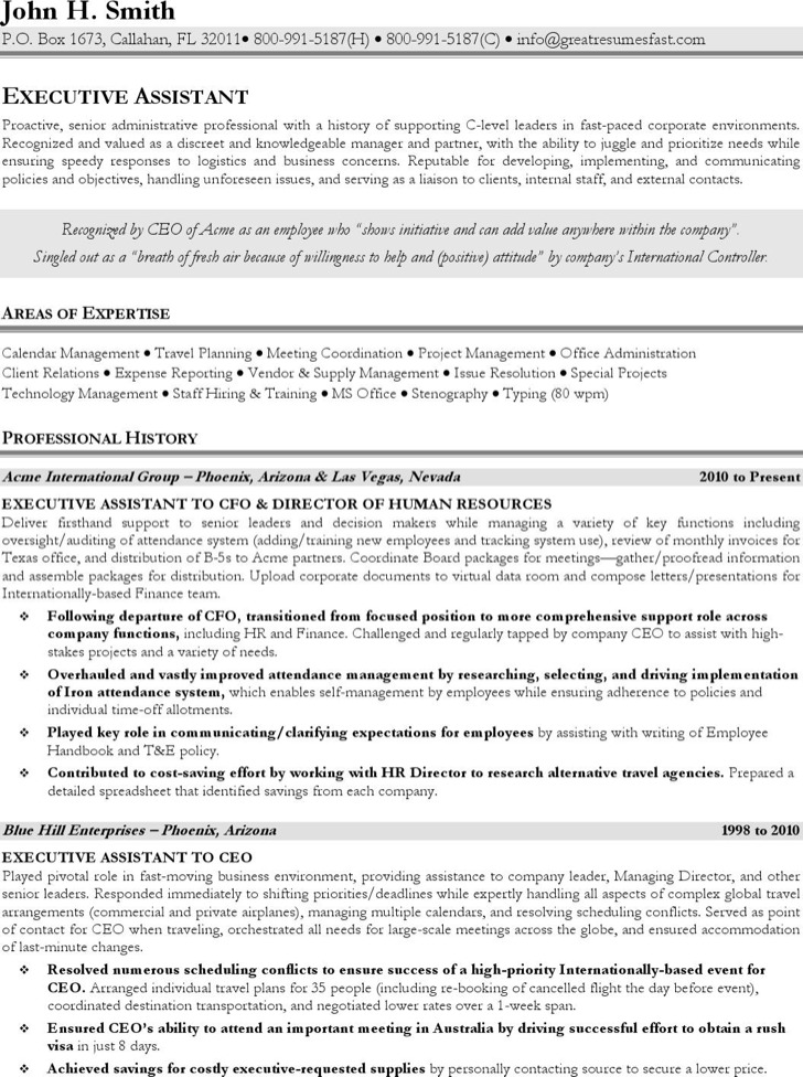 Executive Assistant Stenographer Resume