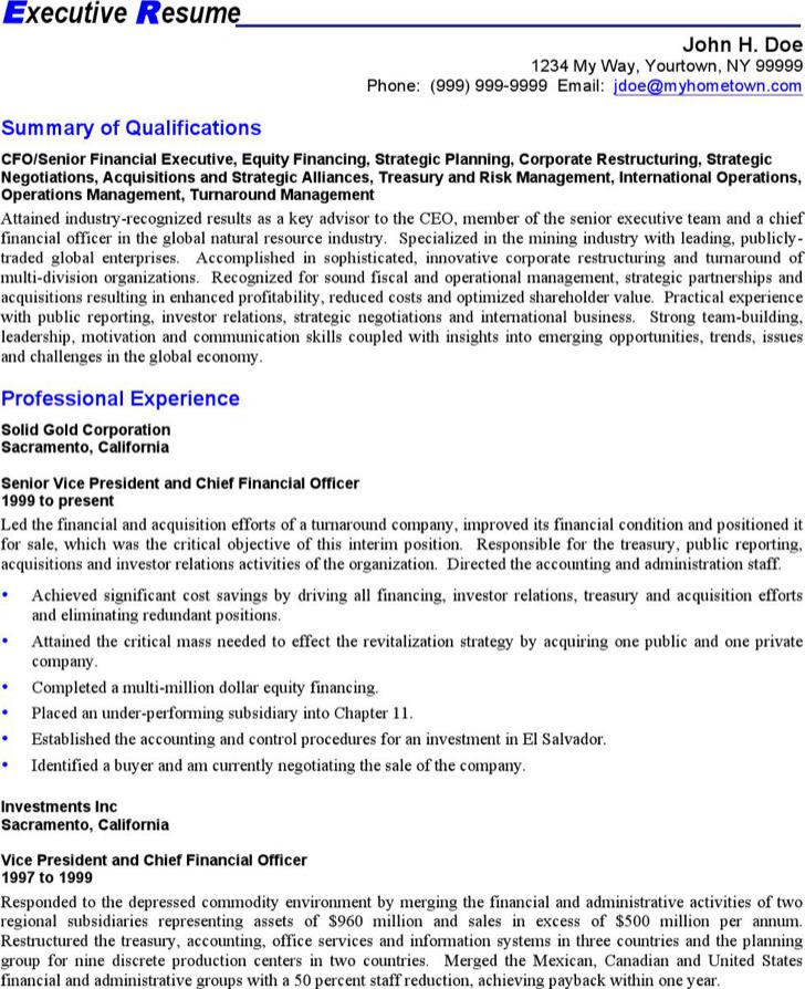 Executive Resume Templat