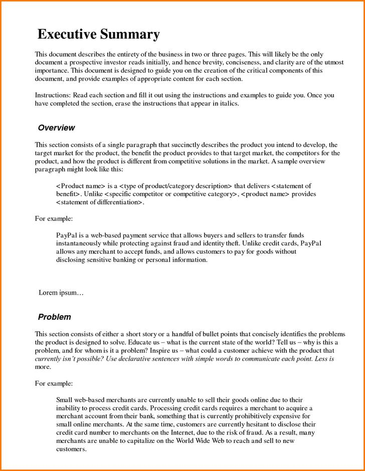 Executive Summary Template for Bank