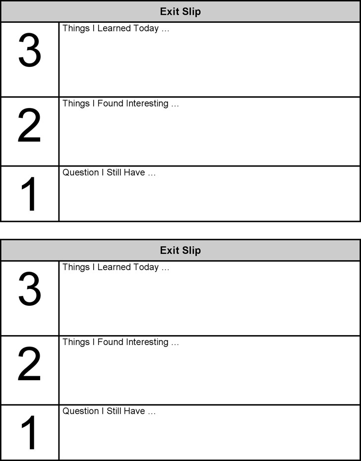 Exit Slips Template