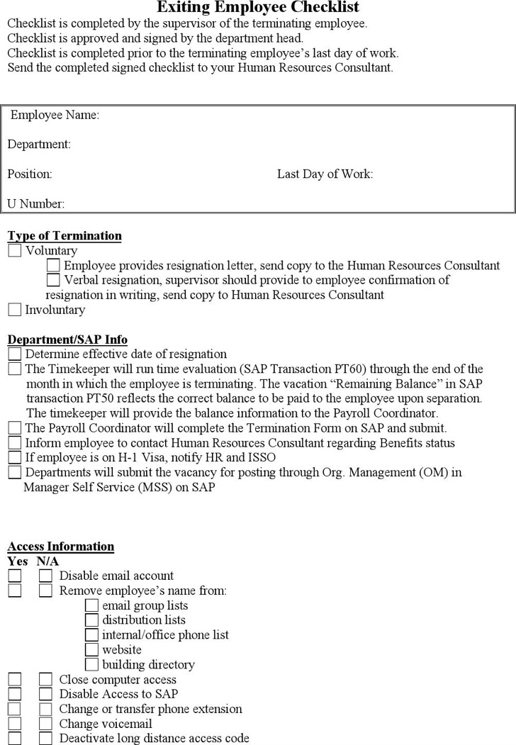 Exiting Employee Checklist Template