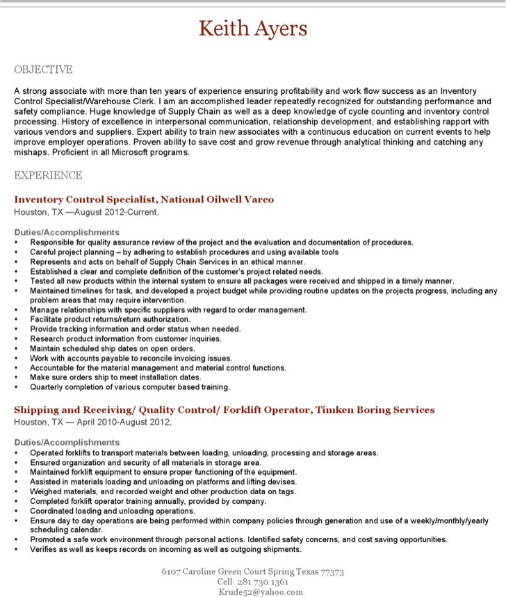 Experience Forklift Operator Resume