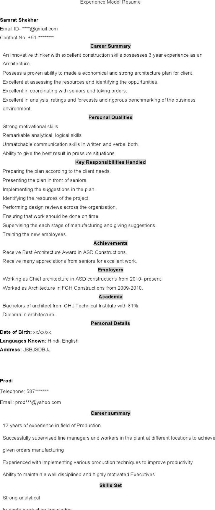 Experience Model Resume