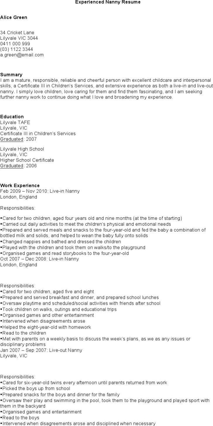 Experienced Nanny Resume