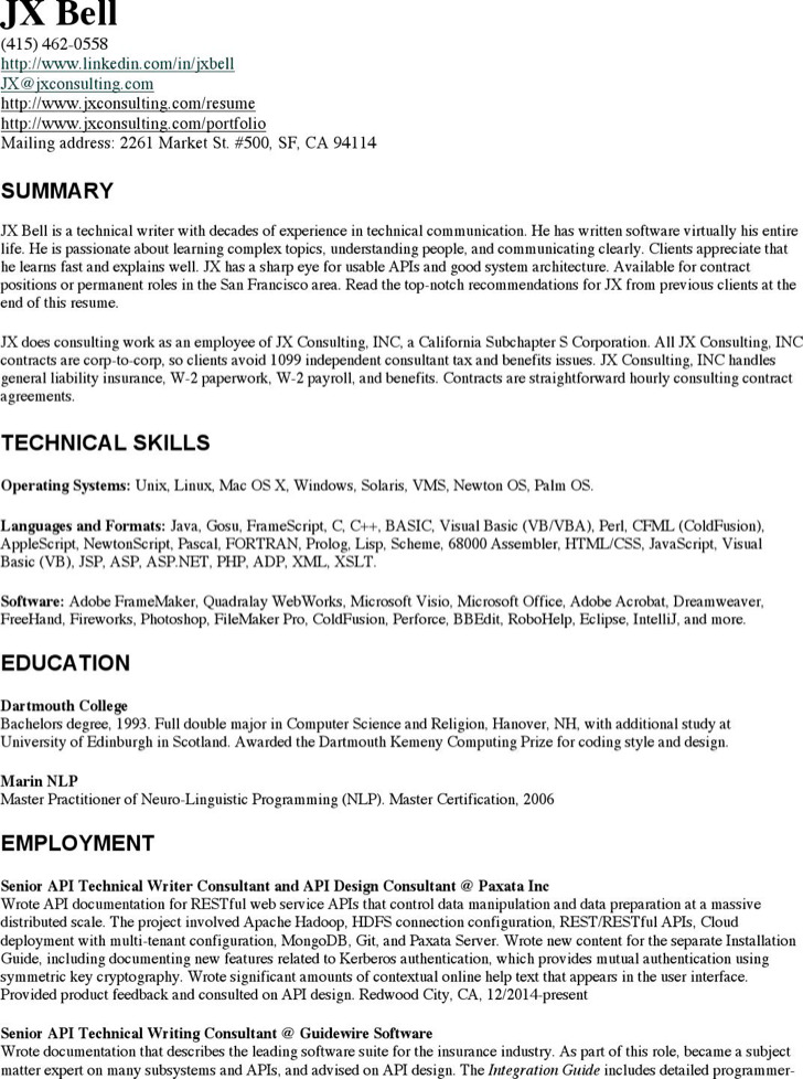 Experienced Technical Writer Resume
