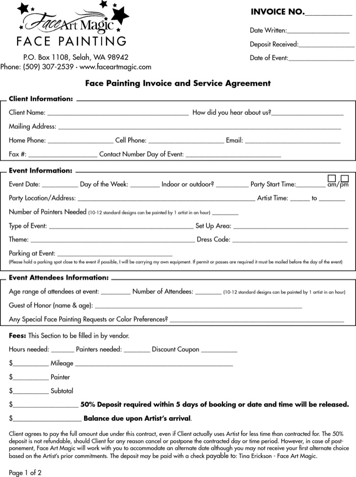 Face Painting Invoice And Service Agreement