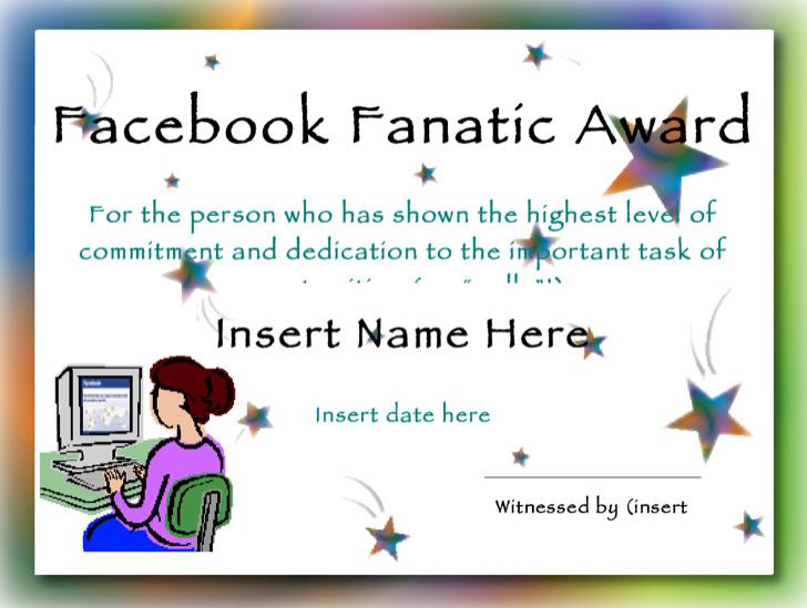 Facebook Fanatic Award Funny Certificate Template1