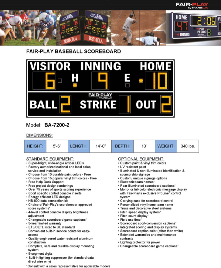 Fair Play Baseball Scoreboard
