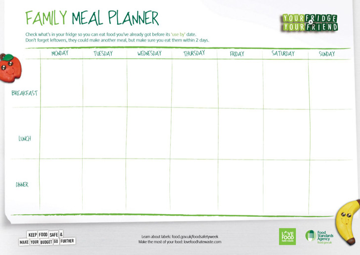 6 sample daily meal planner templates free download