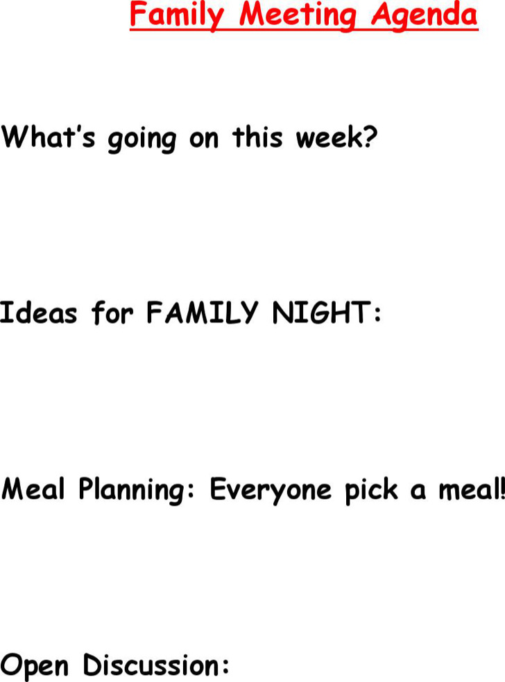Family Meeting Agenda Sample