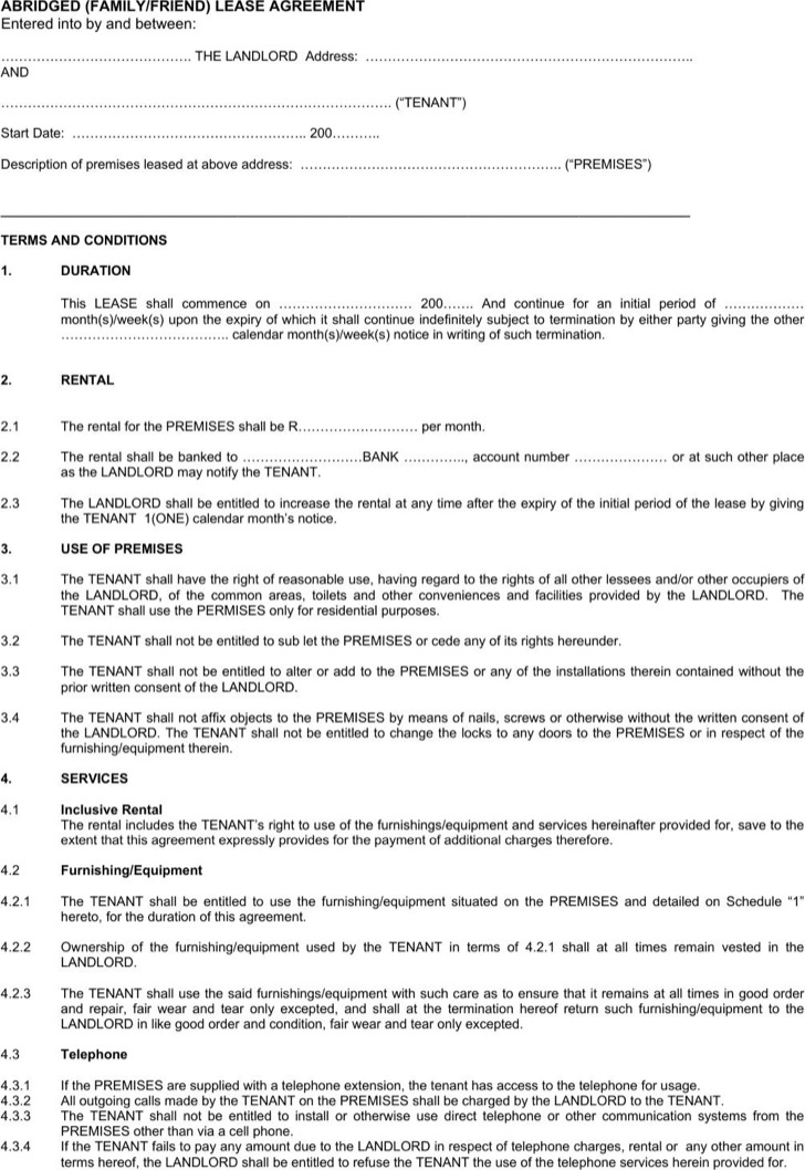 Family Rent Agreement Letter