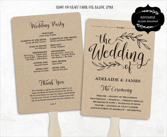 Fan Model Wedding Program Template Download