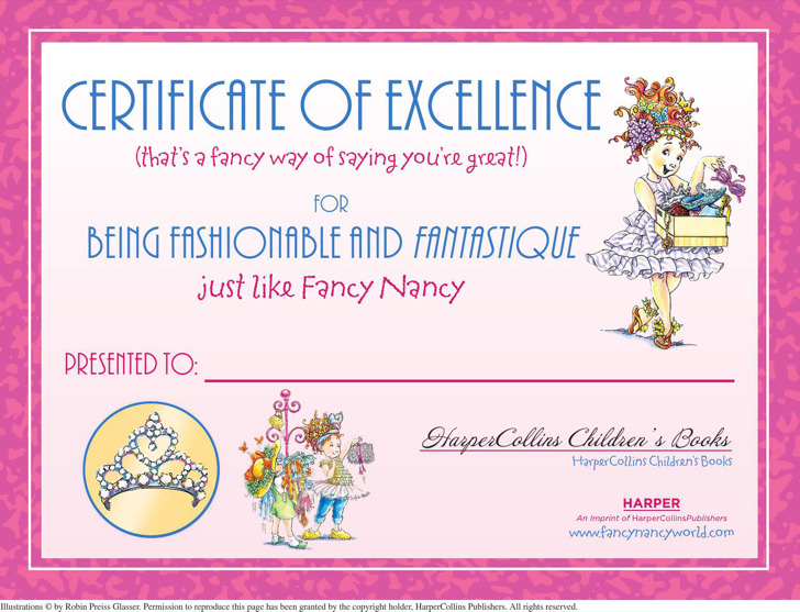 Fancy Nancy Certificate Of Excellence Template