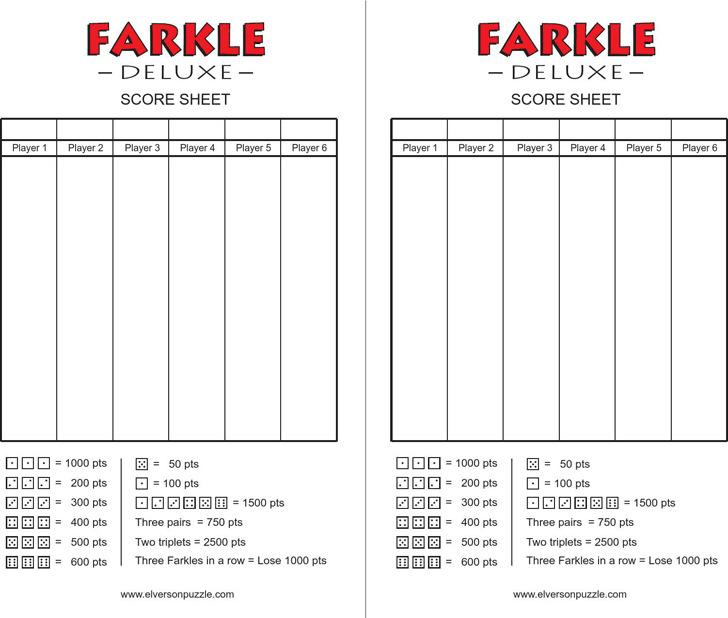 Farkle Score Cards