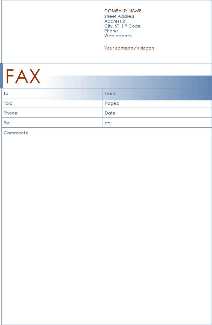Fax Cover Sheet (Blue Design)