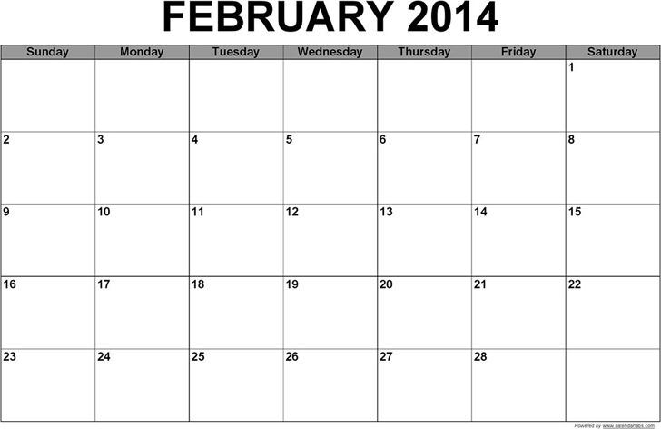 February 2014 Calendar 3