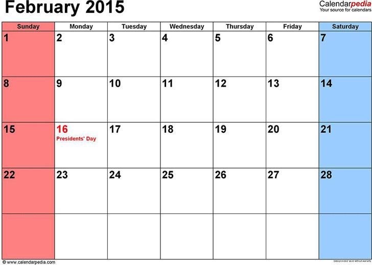 February 2015 Calendar 1