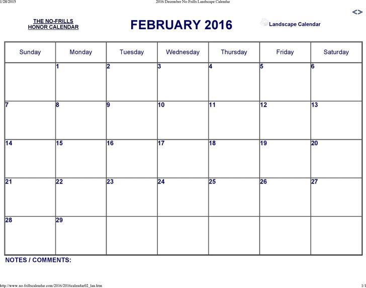 February 2016 Calendar 1