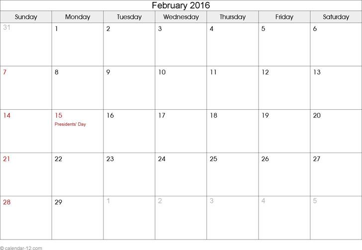February 2016 Calendar 2
